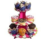 Etagere 3 Etagen Muffin Deko Cupcake Ständer Pappe 3-stöckig Babyparty Tortenständer Pappständer Muffinständer Groß (pink)