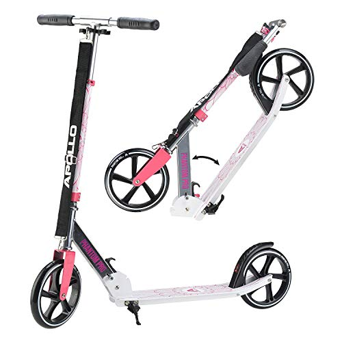 Apollo XXL Wheel Scooter - Phantom Pro City Scooter, Foldable Street Scooter, Height Adjustable Handle, 2 Big Wheels, Kick Scooter for Adults and Children, 220lbs Capacity - Pink