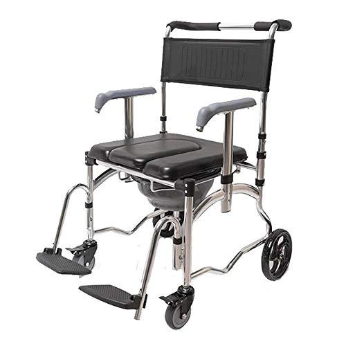 LXYSB Multifuncional Plegable Ducha Portable de la Silla de Ruedas para IR al baño WC Ayuda Médica Movilidad de la cómoda del Soporte de retrete Ancianos discapacitada en la casa,Negro