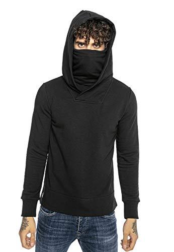 Redbridge Sudadera con Capucha para Hombre Suéter Jersey con Cuello Alto Negro XL