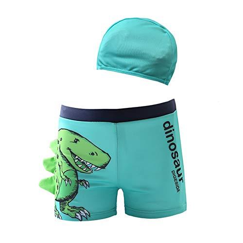 Monvecle Jongens 2 stks Zwembroek Cartoon Dinosaur Beach Boxers met Cap Rashgurad Badpak Set UPF 50+