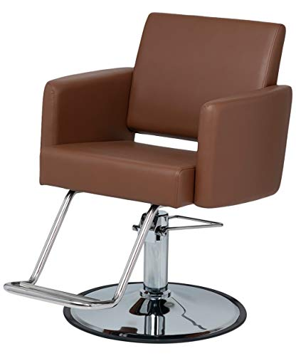 BR Beauty Cammelo Styling Chair for Salons and Stylists, Mid-Century Modern Style with Smooth Camel Colored Premium Vinyl, Inclined Seat-Back, Chrome Base, Steel Frame, NIN-6610-CAMEL