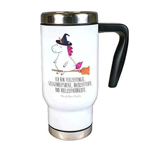 Mr. & Mrs. Panda to Go Becher, Kaffeebecher, Edelstahl Thermobecher Einhorn Hexe mit Spruch - Farbe Weiß