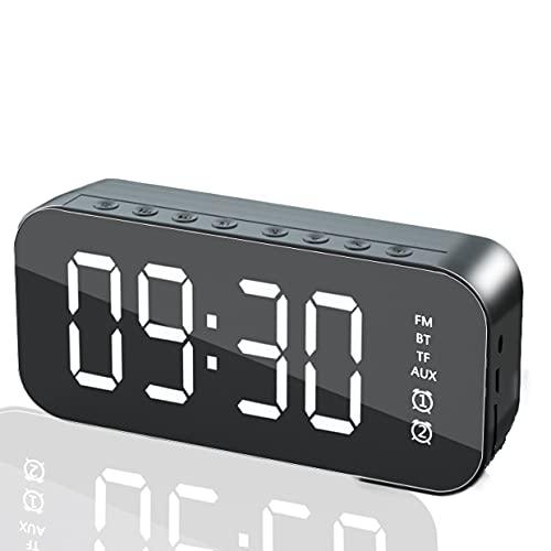 Altavoz Despertador Bluetooth, Reloj Despertador Digital con Altavoz Bluetooth Inalámbrico, Pantalla LED Recargable USB, Radio FM Hi-Fi Sonido estéreo, Brillo Ajustable (Negro)