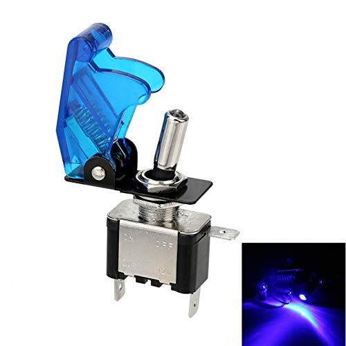 Qclj0415 12V 20A Sport Toggle Rocker Switch Interruptor LED con cubierta protectora CUBIERTA AUTOMÁTICA CUBIERTA LED LED Uniformed Toggle Switch Control ON / OFF Piezas de repuesto ( Color : Blue )