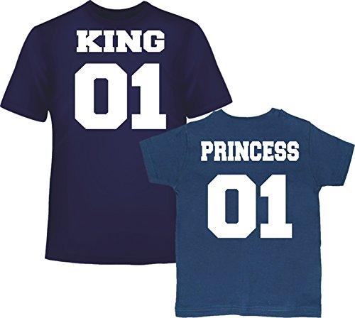King 01 ET Princess 01 Tee Shirt Bleu Marine pour LHOMME ET pour l'enfant Bleu Marine