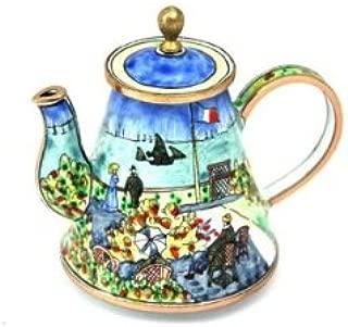 Kelvin Chen Enameled Miniature Tea Pot - Monet's Garden at Sainte-Addresse