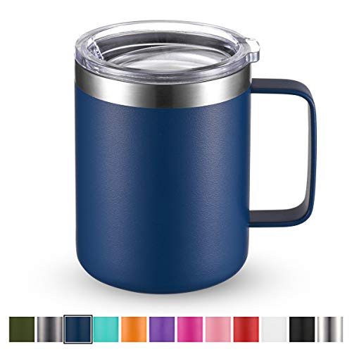 Civago Stainless Steel Coffee Mug Cup with Handle, 12 oz Double Wall Vacuum Insulated Tumbler with Lid Travel Friendly (Navy Blue, 1 Pack)