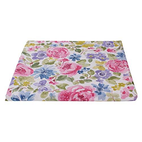 SaRani - Tela mixta de algodón para tapicería, decoración de tela con dobladillo con estampado de flores marrones