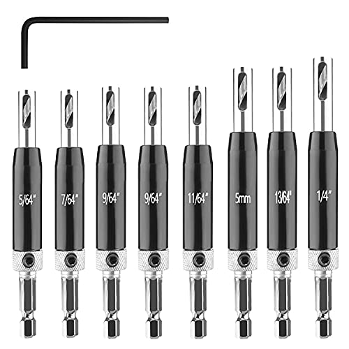 BicycleStore 9PCS Self Centering Drill Bit Set, Hex Shank Self Center Hinge Drill Bits Tool for Woodworking Window Door Hinge with 1 Hex Key, 8 Drill Bits 5/64'' 7/64'' 9/64'' 11/64'' 13/64'' 5mm 1/4