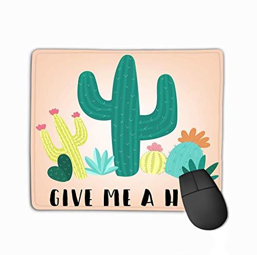 Non Slip Rubber Mouse Pad Hand Gekleurd Veelkleurig Cacti Inscriptie geef me Knuffel Afbeelding Zuid-Amerikaanse Thema kinderen Ideaal