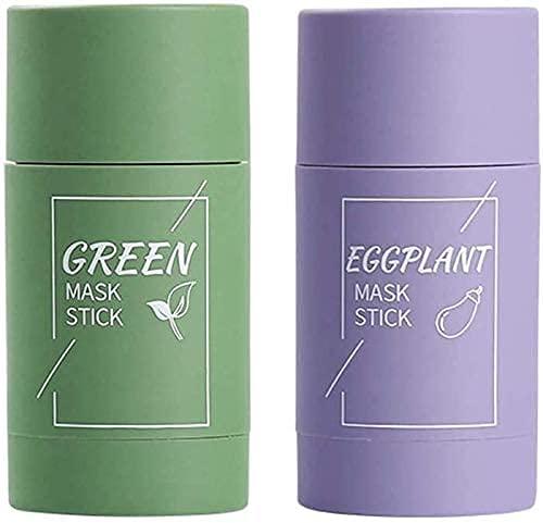 Gsdxz 2 Pcs Mascarilla de té Verde, Control de Aceite hidratante Facial, Limpieza Profunda de poros, Mejora la Piel, para Todo Tipo de Piel Hombres Mujeres (Berenjena + Té Verde)