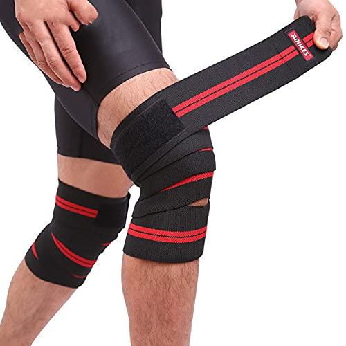 Berrd 1PCS Cinta de Vendaje elástica Rodilleras Deportivas Rodilleras Cinturón de protección ergonómico Pulseras de Pierna - Negro Rojo