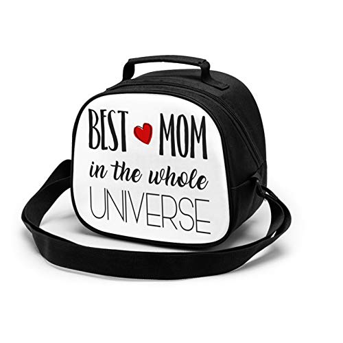 WORUIJIA Best Mom in the whole Universe Children'S Meal Bag Waterproof Reusable Food Storage Lunch Tote Bag Keep Warm Shockproof Ice Pack Insulated Picnic Bag For Boys Girls