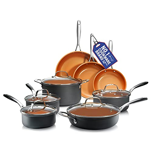 GOTHAM STEEL Pro Hard Anodized Pots and Pans 13 Piece Premium Cookware Set with Ultimate Nonstick Ceramic & Titanium Coating, Oven and Dishwasher Safe, Brown
