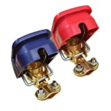 Ampper Quick Disconnect/Release Brass Battery Terminal Clamps, with Red (+) and Blue (-) Cover for Top Post...