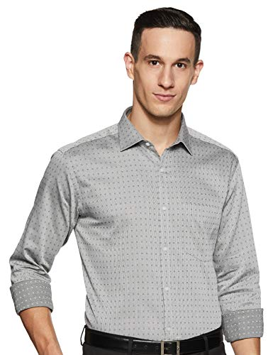 Park Avenue Men's Plain Slim fit Formal Shirt (PMSX12757-K9_Black 40)