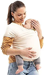 Boba Wrap Baby Carrier, Ecru Dot - Original Stretchy Infant Sling, Perfect for Newborn Babies and Children up to 35 lbs