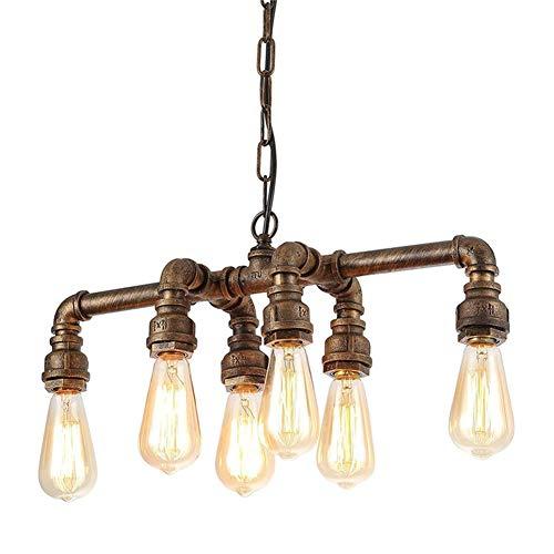 Industrieller Kronleuchter Echt Rohr-Anhänger-hängende Beleuchtung mit 6 Leuchten, Max 60W Echtrohr Fixture for Küche, Esszimmer, Foyer, Billiardtisch