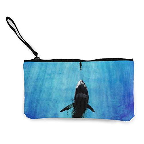 Monederos de dinero en efectivo de mar azul profundo con cremallera de lona y bolsa de maquillaje con correa de muñeca para teléfono móvil