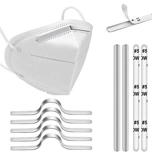 120 tiras de aluminio para la nariz, puente para mascarillas, 90 mm, adhesivas, metálicas y planas, para costura