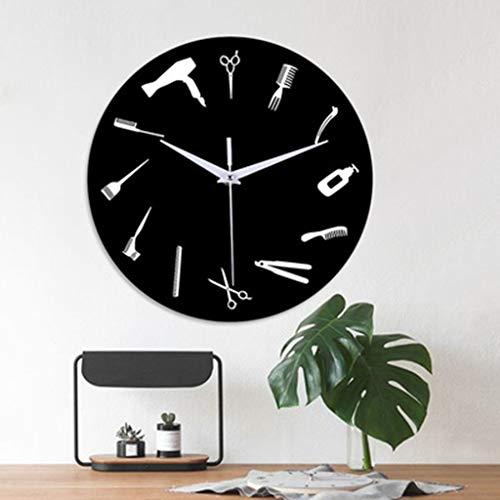 Muium ❤❤❤12-Inch Reloj Creativo Relojes de Pared de Herramientas de peluquería para el Dormitorio Sala de Estar Decorativa con un Reloj Mudo Buena Decoracion de casa/Cocina/Oficina❤❤❤ (Negro)
