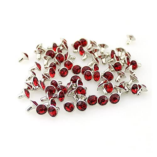 Duradero 100Sets / Lot 7mm moda coloridos Rhinestones Remaches para picos de cristal de cobre de cuero para bolsas de ropa de accesorio DIY decoración de bolsas para la reparación de artesanías