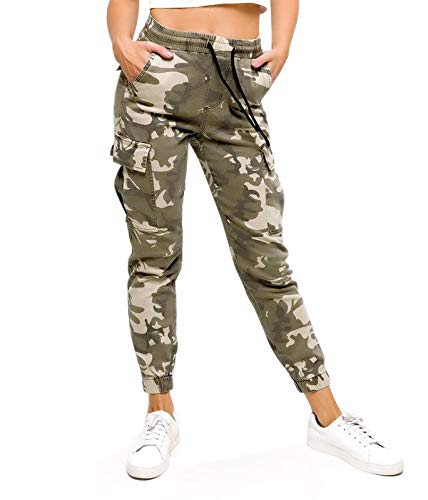 if she Dames Army Military Cargo Bundeswehr Jogg-Jeans Broek High Waist Camouflage (Beige groen kaki XS S M L XL)