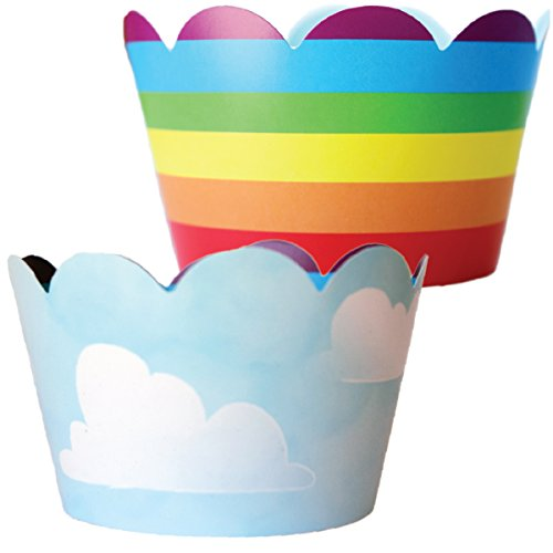 Rainbow Cupcake Wrappers - 36 Reversible | Unicorn Party Supplies, Cloud Cup Cake Liner Wraps, Airplane Birthday, Wizard of Oz Theme Baby Shower Decor, Hot Air Balloon Decorations