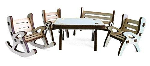 Petra's knutsel-News A-GMH04FS2 tafelgroep, bestaande uit 1 x tafel, 1 x tuinbank, 1 x schommelstoel en 2 stoelen van hout, 5-delig