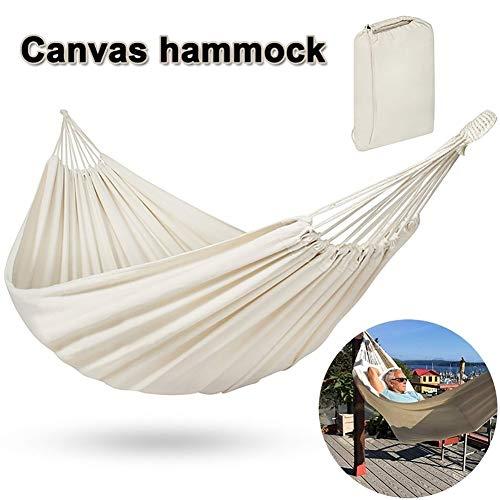 TTIK Acampar Hamaca De Lona, Carga De hasta 200 Kg Cama Portátil Al Aire Libre Camping Hamaca para Colgar En Interiores Y Exteriores,con Bolsa,200x150cm