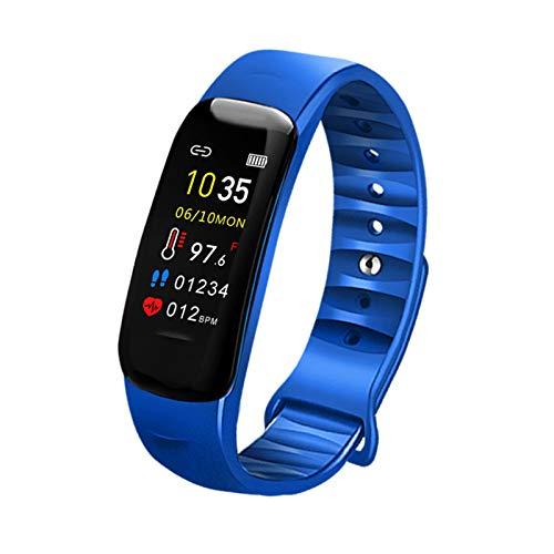 Jorwell 2020 Pulsera Inteligente para Hombres Y Mujeres, Información Push Push Sleep Paso Contador Control Música Control Fitness Tracker,Azul