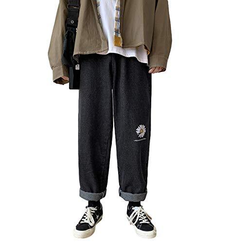 Huntrly Pantalones Vaqueros para Hombre Primavera Moda Personalidad Pantalones Vaqueros recortados Impresos Pantalones de Mezclilla de Pierna Recta Informales Diarios M