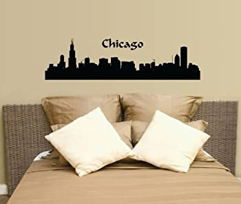 Chicago City Scape Wall Decal Sticker Skyline Cityscape Silhouette Mural