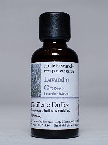 Distillerie Duffez - Huile Essentielle De Lavandin Grosso 100% Pure Et Naturelle- Fabrication 100% Française En Drôme Provençale - 500Ml