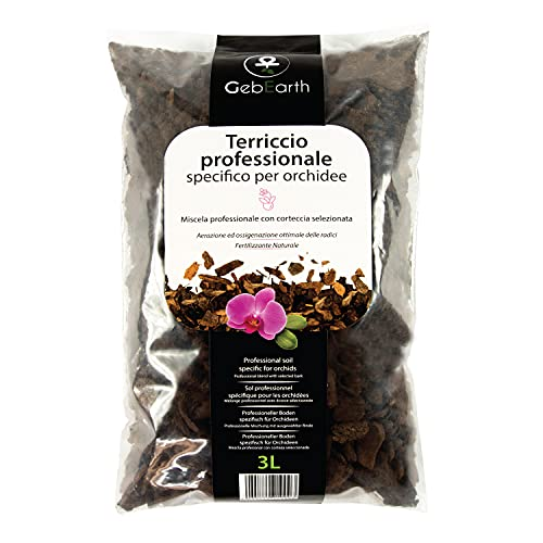 GebEarth - Terriccio per Orchidee, Substrato per Orchidee da 3 Litri Terriccio Professionale per tutte le Orchidee