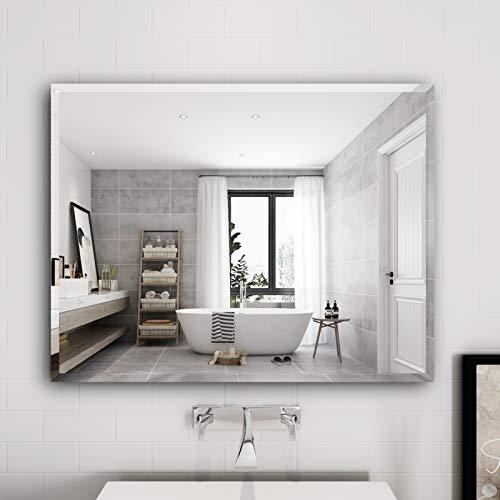 Honyee Frameless Rectangular Wall Mirror, Modern Vanity Mirror with Polished Edge for -