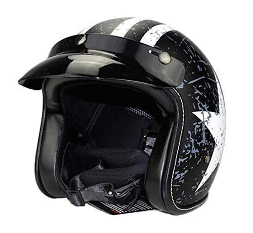 GAOZHE Jet Half Motocicleta Scoote Motoneta Casco para Retro Half Jet para Helmet para Hombres Adultos Mujeres Retro Cascos Cuero Hecho a Mano Cascos Cascos de la Motocicleta Scoote Casco para