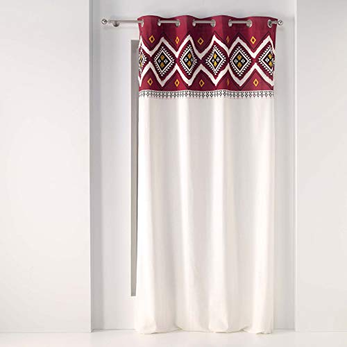 Ösenvorhang, Baumwolle, für den Innenbereich, 140 x 240 cm, Baumwolle, einfarbig + Top Imp. Fantaisie Neo Berbere