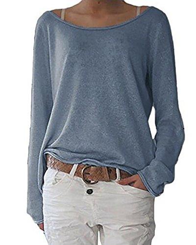 ZANZEA Damen Langarm Lose Bluse Hemd Shirt Oversize Sweatshirt Oberteil Tops Y-Marine EU 44/Etikettgröße L
