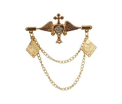 Knighthood Geflügeltes Herz mit hängenden Emblem Kette Brosche Anstecknadel Reversnadel/Lapel Pin/Anzug/Sakko