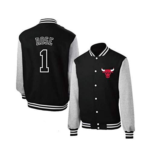 Chicago Bulls Herren Jacke Langarm Retro Baseball Uniform Basketballjacken Herbst und Winter Sweatshirt Treue Fans dürfen dieses Trikot nicht verpassen Gr. 56, Schwarz