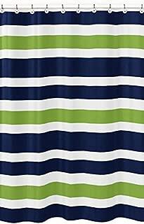Sweet Jojo Designs Navy Blue, Lime Green and White Kids Bathroom Fabric Bath Stripes Shower Curtain