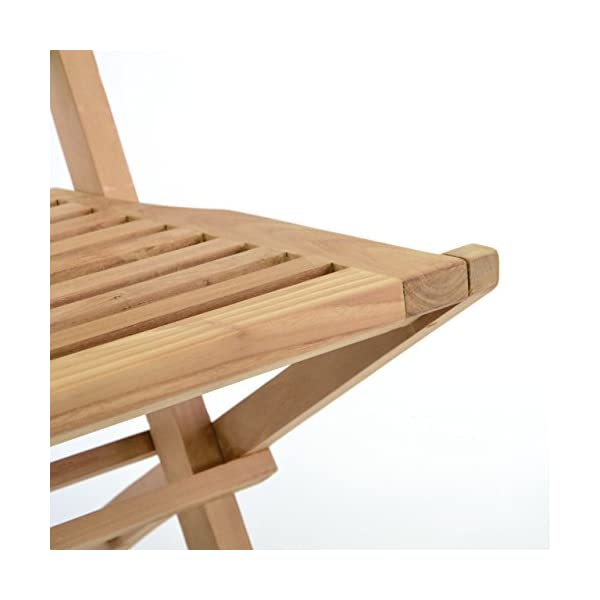 Divero 2er Set Klappstühle Hantown Teak Holz Gartenstuhl massiv verstärkt klappbar 42 x 98 x 43 cm, Natur