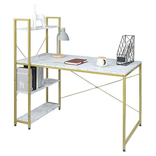 eSituro SCD0098 Schreibtisch Computertisch Bürotisch Arbeitstisch mit Ablage Holz Stahl Golden Marmor