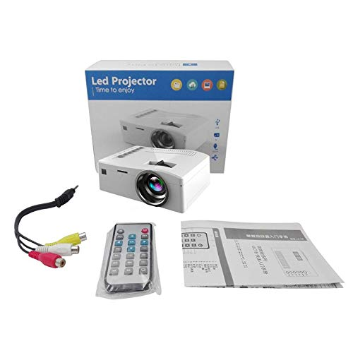 Peanutaoc Mini proyector LED, 1080P HD Proyector de Video portátil Entretenimiento para el hogar Multimedia LCD Proyector de Bolsillo, para PC, portátil, Enchufe Blanco de la UE