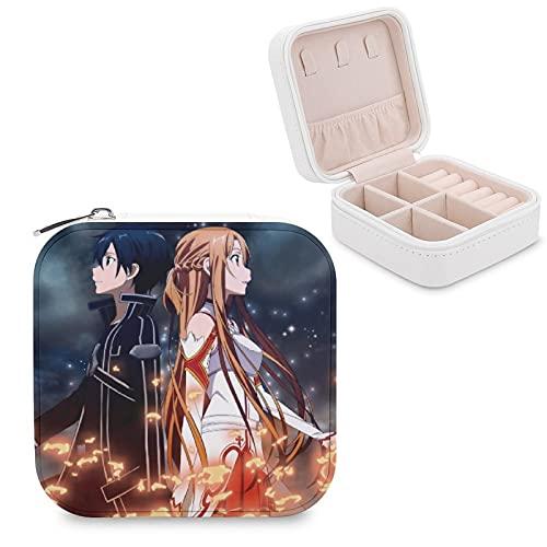 Anime Sword Art Online Joyero de piel sintética de viaje portátil, para collar, pendientes, pulseras, anillos, relojes, caja de almacenamiento para mujeres
