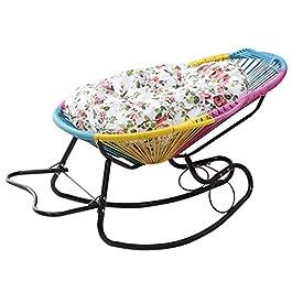 Fauteuil à bascule inclinable en rotin Chaises longues inclinables avec coussins Chaise de jardin pour enfants Pépinière…
