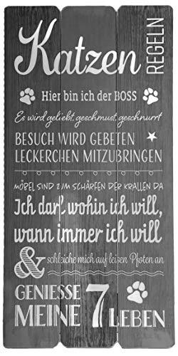 Bada Bing Wandschild Katzenregeln Ca. 30 x 60 cm Bild Katze Katzenliebhaber Plankenoptik Spruch 04