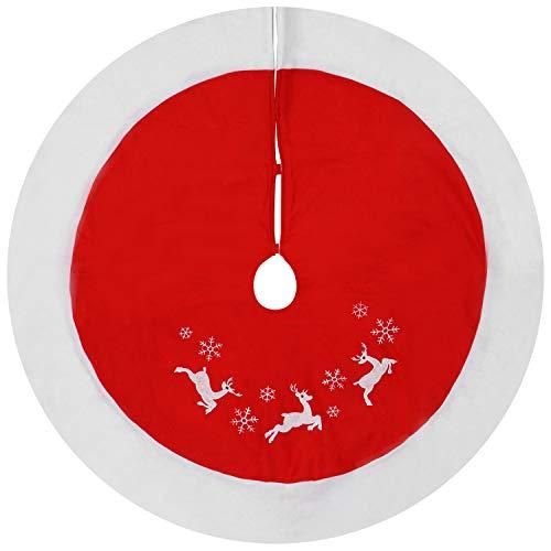com-four® Dekorative Christbaumdecke - hochwertige Decke für den Weihnachtsbaum - weihnachtliche Unterlage für den Christbaum (Ø 118cm - rot. weiß)